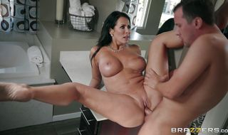 Prurient brunette girl Reagan Foxx with round tits is riding a shlong and reaches a massive orgasm