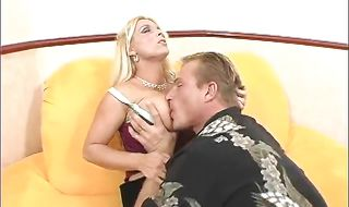 Salacious blonde mature Holly Halston strokes a meat rocket and plays with her shaved tang