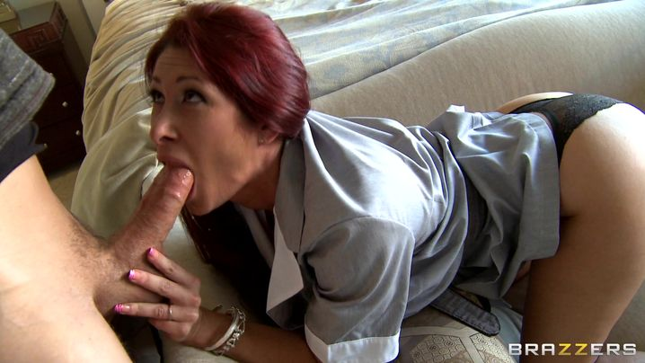 Voracious Tiffany Mynx is often sucking mate's wang while he is making a video of her