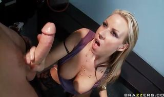 Racy blonde mature Carolyn Reese with large natural tits can't keep quiet while being banged by a big penis