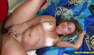 Aroused blonde Cris Moura is sucking a huge dink and enjoying it a lot