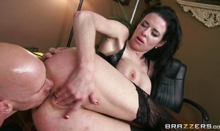Playful mature Veronica Avluv strips for a pulsating phallus