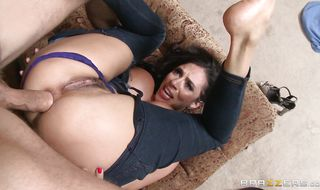 Magical mature brunette babe Ariella Ferrera and a lad she fell in love with are making love all day long