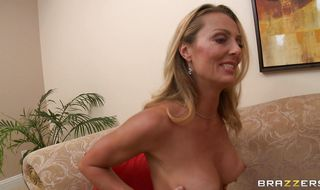 Marvelous blonde diva Brenda James takes a ride on a big prick