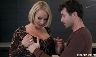 Admirable busty babe Mellanie Monroe drools on her big tits while sucking cock