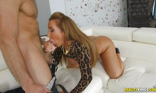 Aroused mature Richelle Ryan fiercely sucks and rides a large slim jim