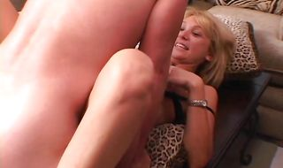 Goluptious blonde chick Patricia is down on her knees and sucking her stud's big meat rocket