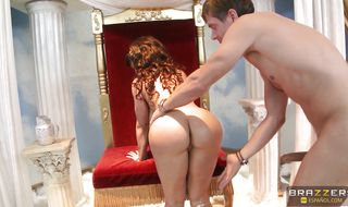 Swingeing brunette Lisa Ann is down on her knees and sucking her mate's big beef bayonet