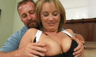 Straddling the cock curvaceous blonde mature Kaci fucks the guy so hard