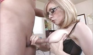 Cunning blonde mature Nina Hartley receives a firm banging