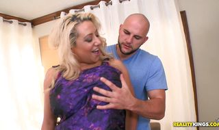 Delectable blonde mom Melodie enjoys a passionate and relaxing foreplay