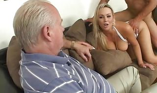 Appetizing mature Abbey Brooks with huge tits got fucked from the back while she was standing