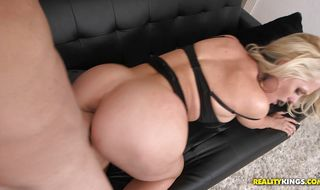 Lusty blonde sweetheart Alena Croft is riding a rock hard donga in her bedroom