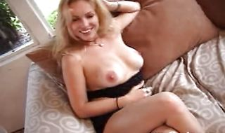 Elegant blonde Angelina is horny and reaches a massive orgasm