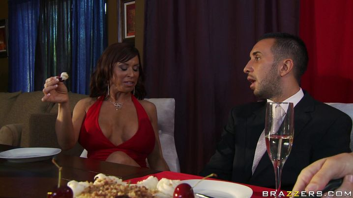 Engaging mature latin brunette girlfriend Devon Michaels with impressive tits is squirming on a male's big hard pipe