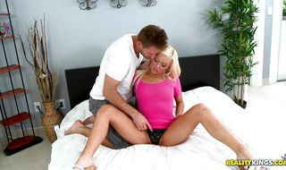 Cheerful blonde housewife Summer Haze can't wait to be fucked hard