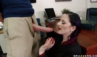 Insatiable mature brunette Caroline Pierce got down on her knees to suck her fucker's rock hard shaft
