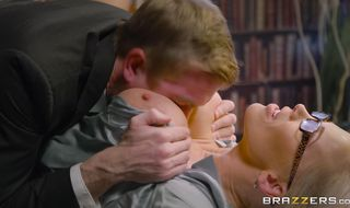 Captivating mature blonde gal Rebecca Moore swallows a big dink like a true whore