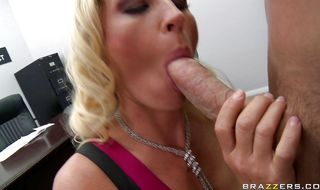 Aroused busty mom Devon Lee is sucking her best stud's hard stick like a real pro and enjoying it