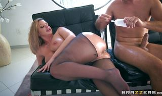 Goluptious busty blonde bimbo Brooklyn Chase receives an intense doggy style pounding