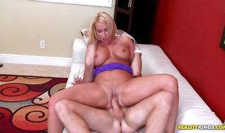 Classy blonde mature Melanie Monroe meets a lad and immediately wants to fuck him