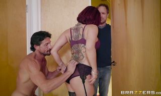 Glamor redhead Tory Lane had sex with her lad