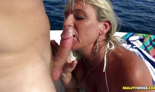 Extraordinary mature diva Brandi Jaimes is viciously doggy styled by a thick prick