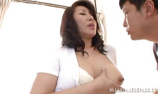 Succulent Wako Anto with large tits takes a hard outdoor quim plowing from behind