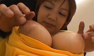Wicked Meguru Kosaka with large tits gives a blowjob before being joyfully cuchy banged