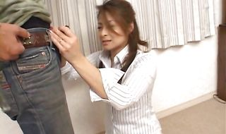 Muscular male has milf Reona Azabu's slit wrapped around his stiff dink