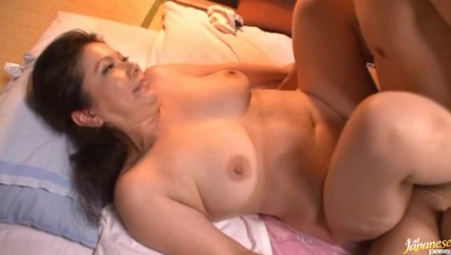 Boyfriend feels amazing Chizuru Iwasaki's big tits before getting a slippery blowjob