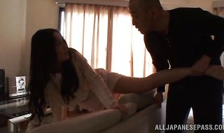 Vigorous mature Emiri Okazaki gets oiled up and fucked like crazy
