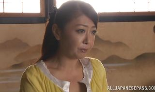 Astounding mature Ayano Murasaki is about to have her first sex experience with lover