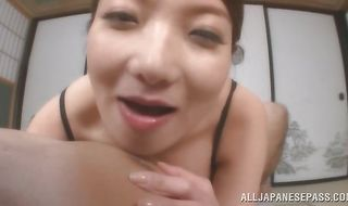 Heavenly perfection Mio Takahashi gladly blows pal's pole