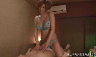 Sinful floosy Reira Akane rides the bf's hard dick wildly