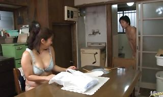 Dissolute mature Yukari Orihara gets banged by a large tool
